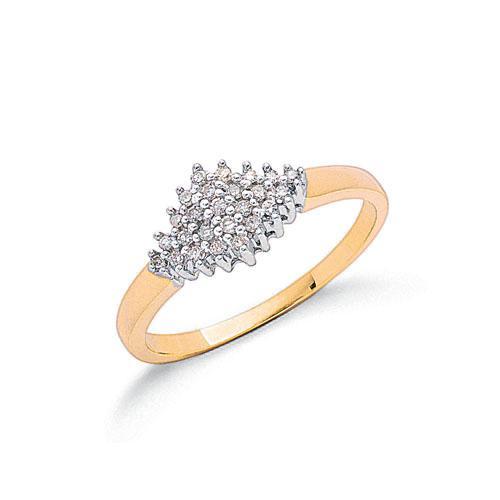 9ct gold diamondcluster ring.