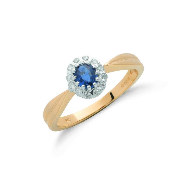 9ct Gold Diamond & Blue Sapphire Cluster Ring