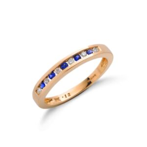 9ct gold Diamond & Blue Sapphire eternity ring.