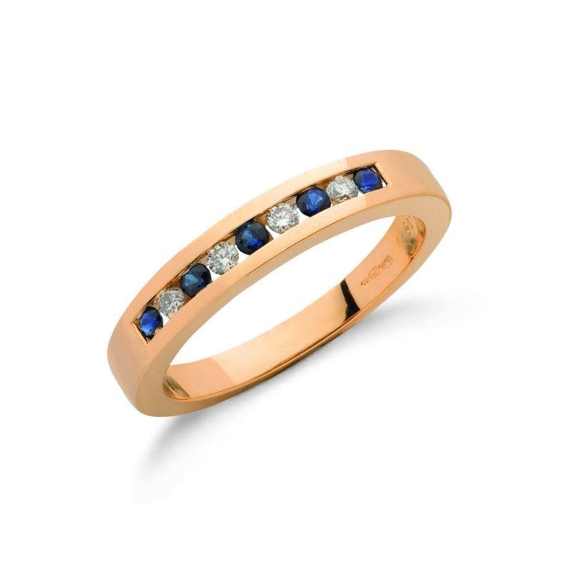 9ct gold Diamond & Blue Sapphire eternity ring.