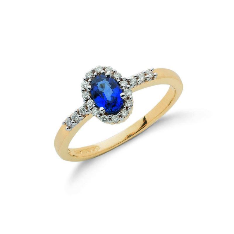 9ct gold Diamond & Blue Sapphire ring.