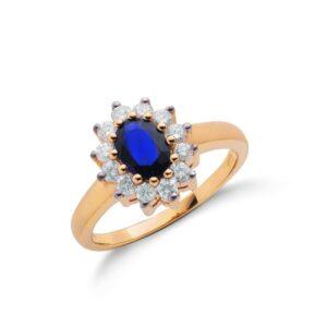 9ct gold Diamond & Blue Sapphire ring