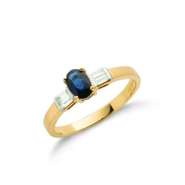 9ct gold Baguette Diamond & Blue Sapphire ring