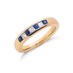 9ct gold Princess Cut Diamond & Blue Sapphire eternity ring.
