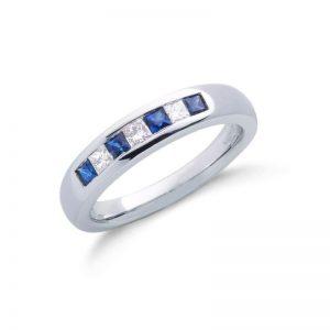 9ct white gold Princess Cut Diamond & Blue Sapphire eternity ring.