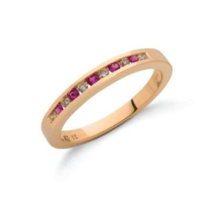 9ct gold diamond & ruby eternity ring.