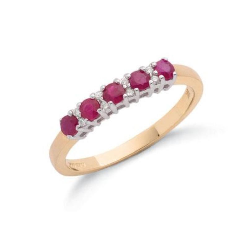 9ct gold diamond & ruby eternity ring.