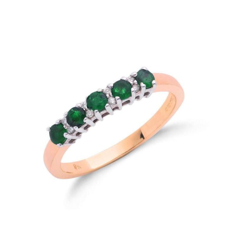 9ct gold diamond & emerald eternity ring