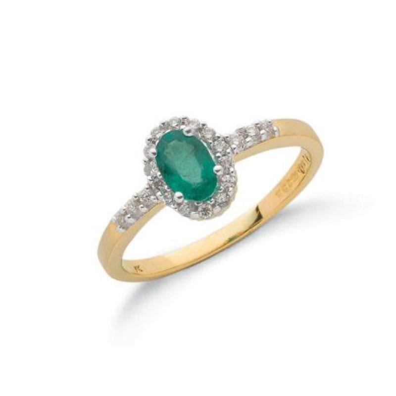 9ct gold diamond & emerald ring.