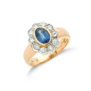 18ct gold diamond & blue sapphire ring.