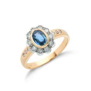18ct gold diamond & blue sapphire ring