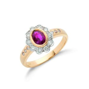 18ct gold diamond & ruby cluster ring.