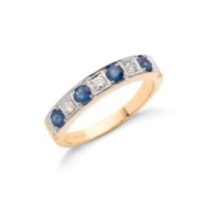 18ct gold diamond & blue sapphire eternity ring.