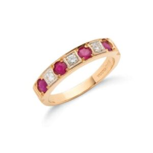 18ct gold diamond & ruby eternity ring.
