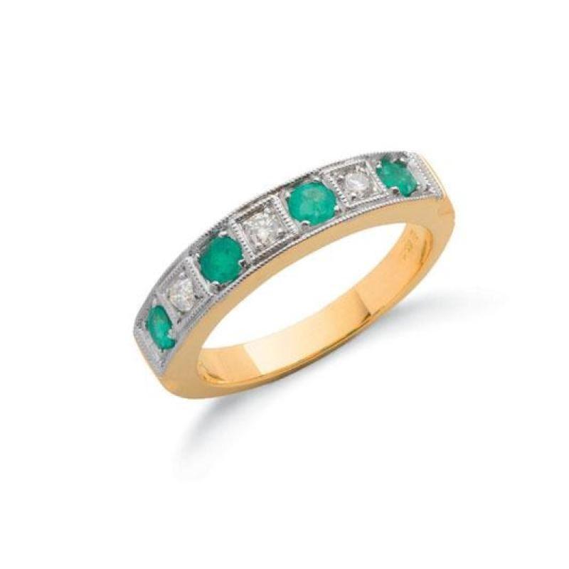 18ct gold diamond & emerald eternity ring.
