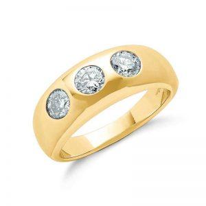 18ct gold 3 stone diamond ring