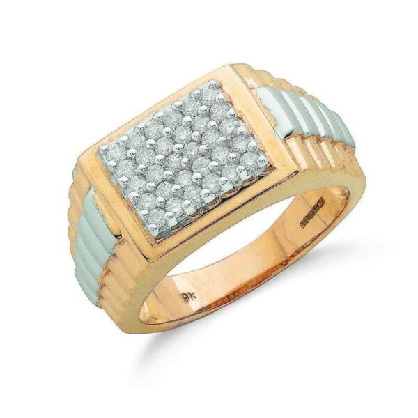 9ct Multi Colour Gold Diamond Dress Ring