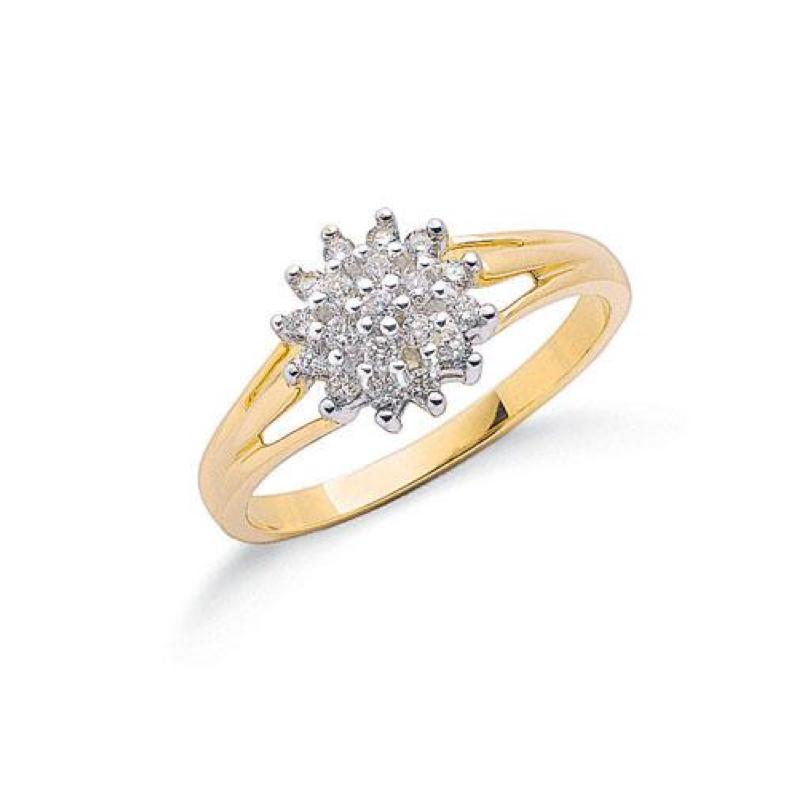 9ct gold diamondcluster ring