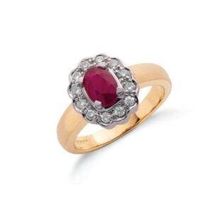 9ct gold diamond & ruby cluster ring