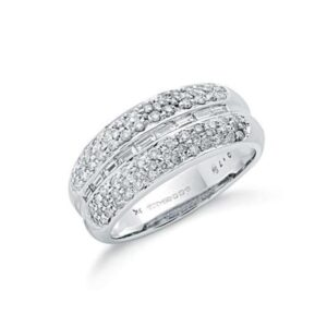 9ct white gold baguette cut diamond bombay ring