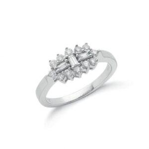 18ct white gold baguette diamond dress ring