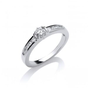 Platinum diamond ring with diamond set shoulders