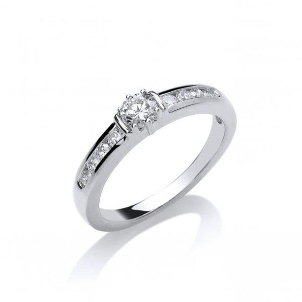 Platinum diamond ring with diamond set shoulders