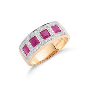 9ct gold diamond & ruby ring.