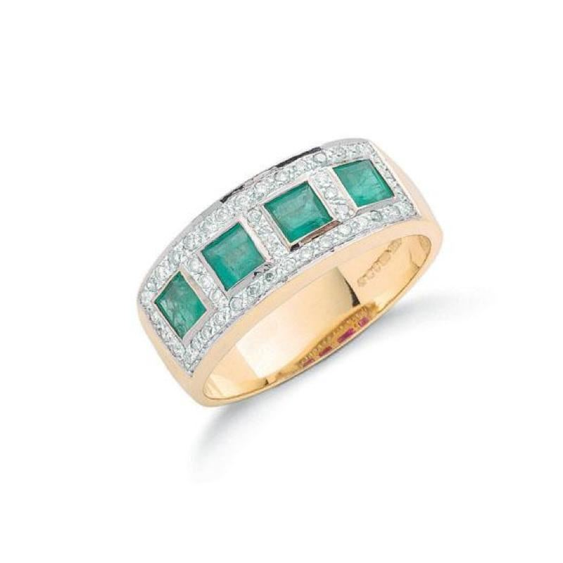 18ct gold diamond & emerald ring.