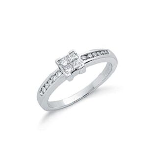 9ct white gold princess cut diamond dress ring