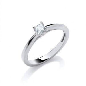 18ct white gold princess cut diamond solitaire rin