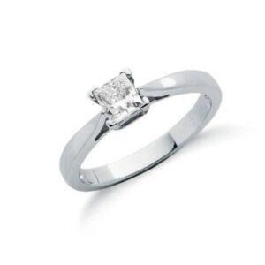 18ct white gold princess cut diamond solitaire ring