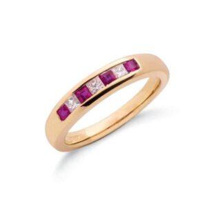 9ct gold princess cut diamond & ruby eternity ring.
