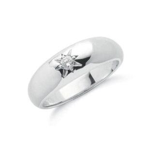 9ct white gold single stone Diamond ring