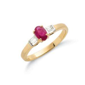 9ct gold baguette cut diamond & ruby ring.