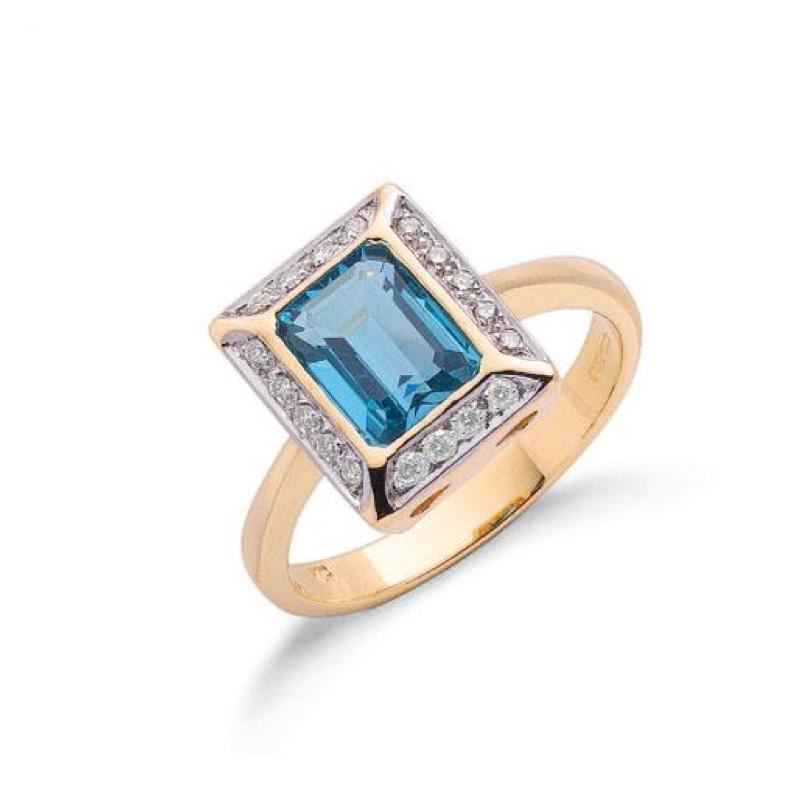 9ct gold Diamond & Blue Topaz ring