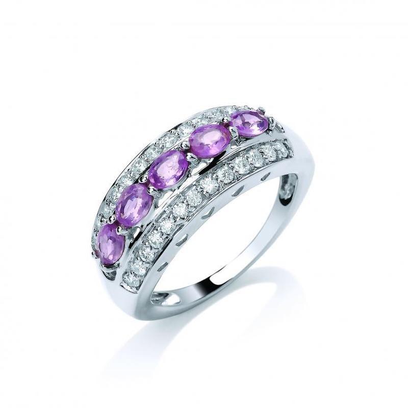 18ct white gold Diamond & Pink Sapphire ring