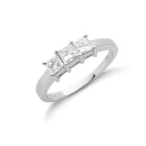 18ct white gold Princess cut diamond trilogy ring