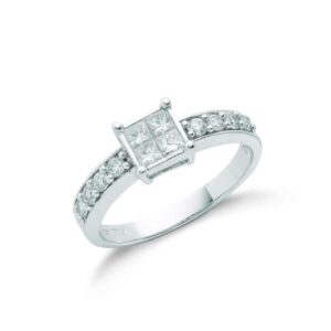 18ct white gold Princess cut diamond dress ring