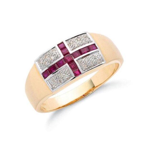9ct gold Diamond & Ruby Saint George ring.