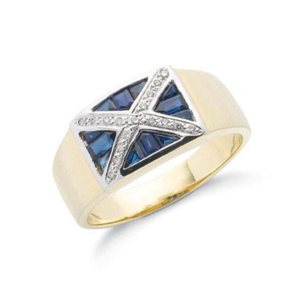9ct Gold Diamond & Sapphire Scotland Flag Ring