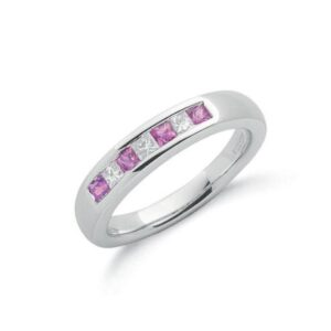9ct white gold Diamond & Pink Sapphire ring.
