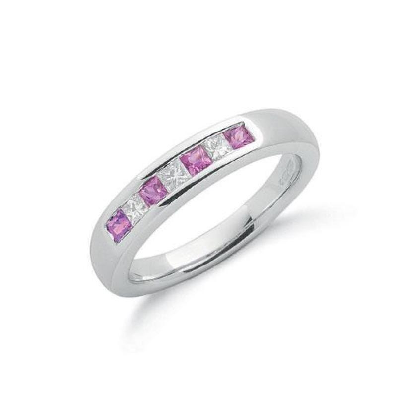 9ct white gold Diamond & Pink Sapphire ring.
