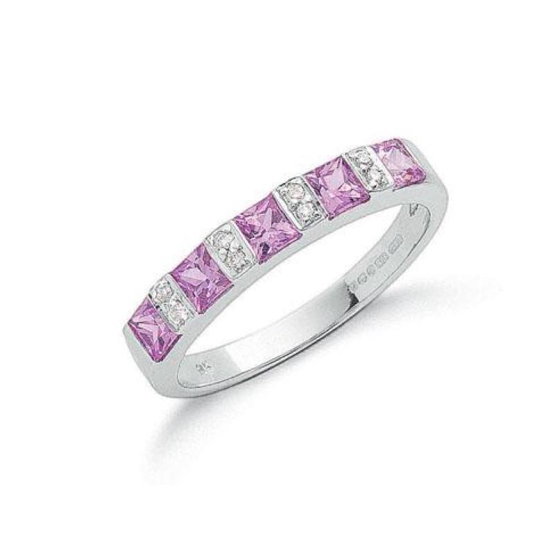 9ct white gold Diamond & Pink Sapphire ring