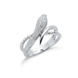 9ct white gold diamond snake ring