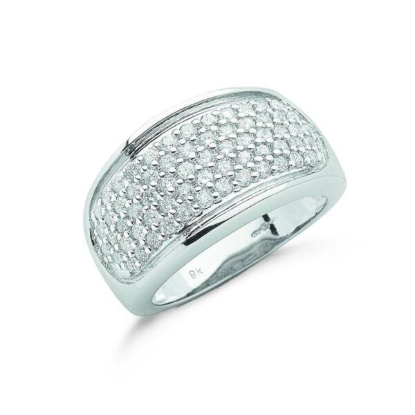 9ct white gold diamond bombay ring