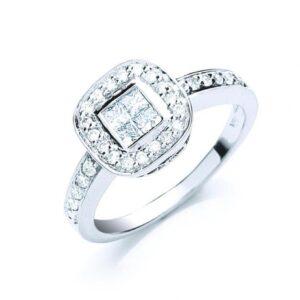 18ct white gold fancy diamond dress ring