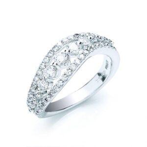 18ct white gold fancy diamond ring
