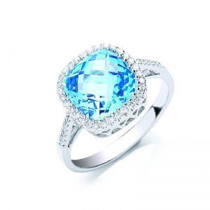 9ct white gold Diamond & Blue Topaz ring