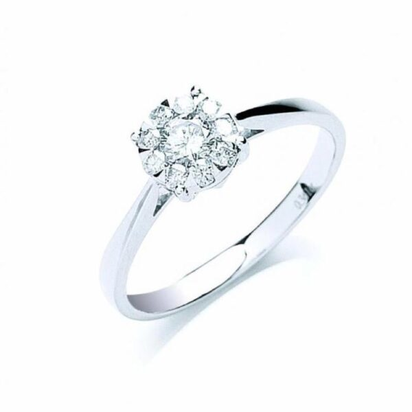 18ct white gold illusion set diamond ring